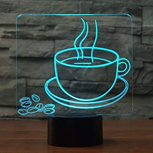 Illusion Lampe Heiße Kaffeetasse 3D Visuelle Tischlampe 7 Farbwechsel Nachtlicht Nachttischlampe Geschenk Schlaf Beleuchtung Restaurant Dekoration