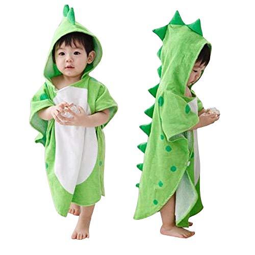 Toalla de baño con capucha para niños, diseño de dinosaurios, de algodón suave, transpirable, cálida, para niños, color verde