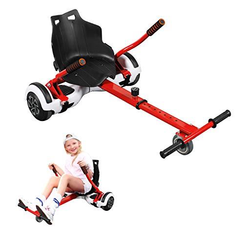 Hoverkart, Kart Ajustable para Scooters eléctricos de autoequilibrio, Asientos de Hoverboard, Karts compatibles con Todos los Scooters-6.5 / 8.5 / 10 Pulgadas, Regalos para niños y Adultos(Rojo)