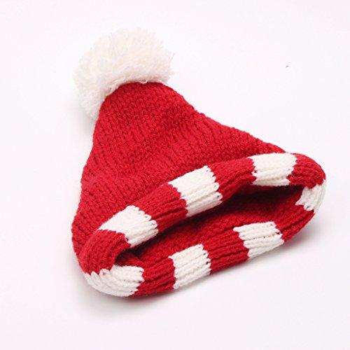 Sharplace Puppen Winter Zubehöt für 18 Zoll Puppe - Süße Strickmütze Wintermütze - Rot & Weiß