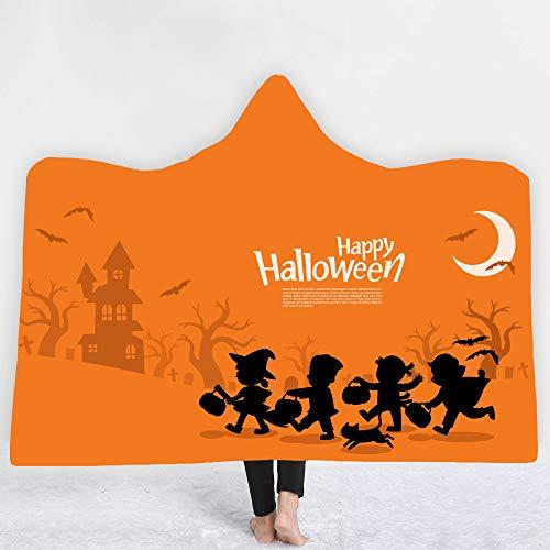 Inicio Manta con capucha Manta para niños Manta de doble espesor Manta de siesta para dormitorio de oficina Halloween,H,130 * 150cm