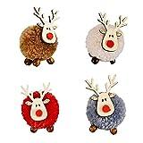Conjunto Colgantes Decoración Navideña Colgantes Madera Reno Alce Copo Nieve Árbol Navidad Madera Decoraciones Ciervos Alce Regalos Colgantes Navidad Fieltro Artesanal Madera 4 Piezas