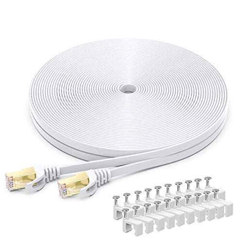 BUSOHE Cable Ethernet Cat7 de 20M, Cable de Red Plano RJ45 Gigabit LAN de Alta Velocidad, Cable de Conexión a Internet de 10Gbps y 600Mhz para Switch, Rúter, Módem, Panel de Conexión, PC (Blanco)