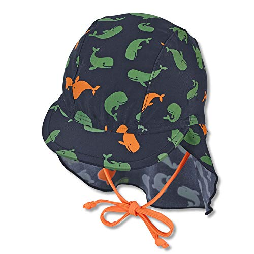 Sterntaler Baby-Jungen Schirmmütze mit Nackenschutz Wale Sonnenhut, Marine, normal