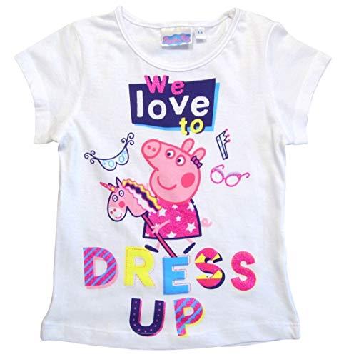 Peppa Wutz T-Shirt Mädchen Kurz Shirt Peppa Pig (Weiß, 92-98)