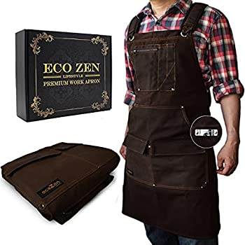 Woodworking Shop Apron - 16 oz Waxed Canvas Work Aprons   Metal Tape holder Fully Adjustable to Comfortably Fit Men Size S to XXL   Tough Tool Apron to Give Protection Ideal Fathers Day GIfts for Dad