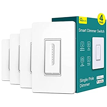 Smart Dimmer Switch 4 Pack Treatlife Smart Light Switch Works with Alexa and Google Home 2.4GHz WiFi Light Switch for Dimmable LED/CFL/Incandescent Bulbs Neutral Wire Required Single-Pole