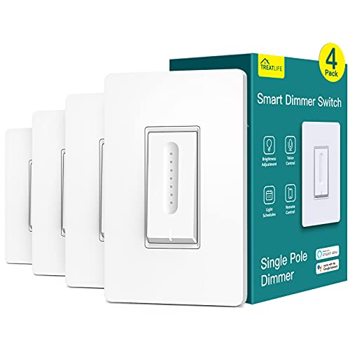 Smart Dimmer Switch 4 Pack, Treatlife Smart Light Switch Works with Alexa and Google Home, 2.4GHz WiFi Light Switch for Dimmable LED/CFL/Incandescent Bulbs, Neutral Wire Required, Single-Pole