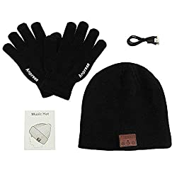 Anpress Bluetooth Hat Beanie, Unisex Bluetooth Hat with Touchscreen Gloves, Unisex Bluetooth Hat Winter Warm Hats Suitable for outdoor sports