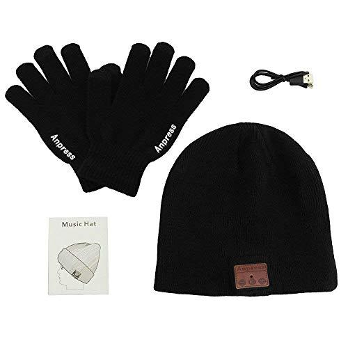 Anpress Bluetooth muts, unisex Bluetooth muts met touchscreen handschoenen, unisex Bluetooth muts winterwarme hoed geschikt voor outdoor sport