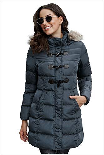 DJDJY Frauen Daunenjacke Langen Mantel Winter Kapuzenreißverschluss Langen schwarzen weinroten grauen Mantel,Grau,L