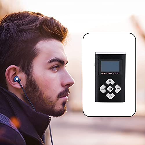 MP3 Player 2021 New Aluminum MP3 Music Player Support TF Card 3.5mm Wired Headset , Mini USB Port Classic 1.2 Inch LCD Digital Screen MP3 Music for Sports Runners Gifts 6 Colors (Black)