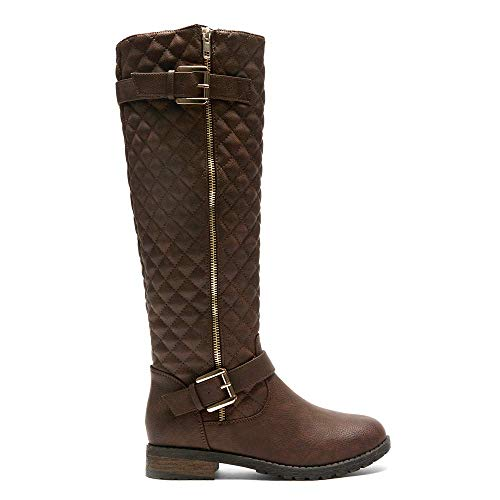 Shoe Land SL-LORREENN-HI Women's Quilted Round Toe Combat Knee High Riding Boots Brown 9.0