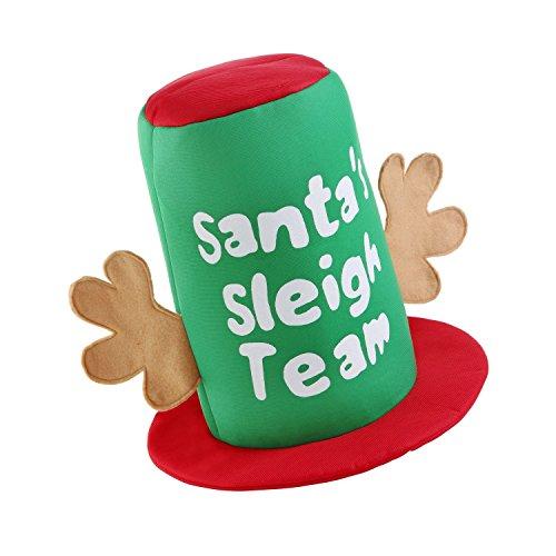 christmasshop Cappello Natalizio della Squadra della Slitta di Babbo Natale (Taglia Unica) (Verde/Rosso)