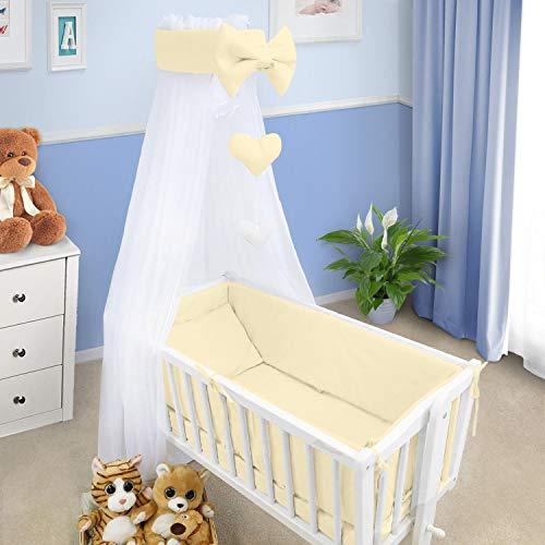 Baby Bettwäsche Set Wiege Wiege 6 Teile Kissen Bettbezug Nestchen Passend Für Wiege 90x40CM - Creme