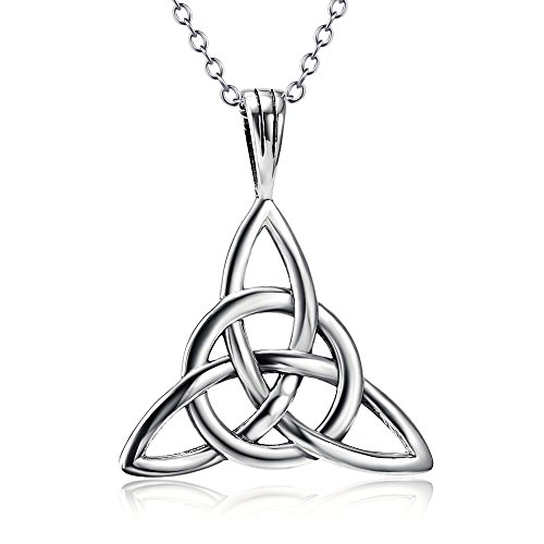 925 Sterling Silver Good Luck Irish Celtic Knot Triangle Vintage Pendant Necklaces for Women Girls,18'