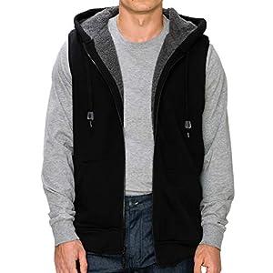 Men's Outdoor Fur Lined Sleeveless Hooded Fleece Vest Jacket