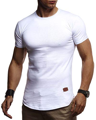 Leif Nelson Herren Sommer T-Shirt Rundhals Ausschnitt Slim Fit Baumwolle-Anteil Cooles Basic Männer T-Shirt Crew Neck Jungen Kurzarmshirt O-Neck Kurzarm Lang LN8294 Weiß Small