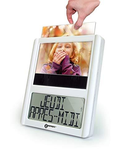 Digitale Funkuhr mit Fotorahmen - Ideal für Senioren - Hilfreich für Demenz- und Alzheimer-Kranken - Geemarc VISO5 Weiss
