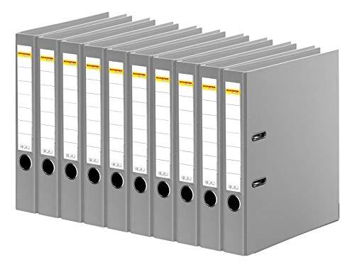 SCHÄFER SHOP Ordner A4 schmal – Ringbuch Aktenordner Büroordner Kunststoffordner - Made in Germany - grau, 50 mm, 10er Pack