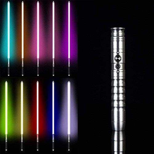 Y&Z Espada Laser Star Wars, RGB 11 Cambios de Color Espada Luminosa Espada de Metal Juguete de Regalo de Cosplay Sable de luz de Star Wars, Sable de luz de OBI WAN Kenobi(Hoja de 64Cm), Silver