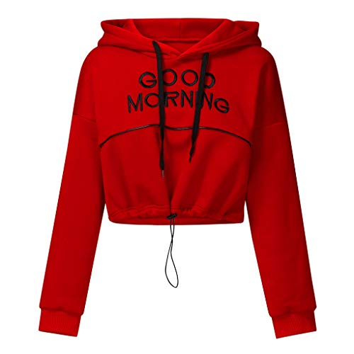 Damen Teenager Mädchen Sweatshirt,Mode Langarm Crop Tops Langarmshirt Hoodie Kapuzenpulli Bauchfreier Pulli Streetwear Bluse Good Morning Print Kapuzenpullover Sportoberteile