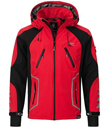 Rock Creek Herren Softshell Jacke Outdoor Jacke Windbreaker Übergangsjacke Anorak Kapuze Regenjacke Winterjacke Herrenjacke Jacket H-230 Rot L