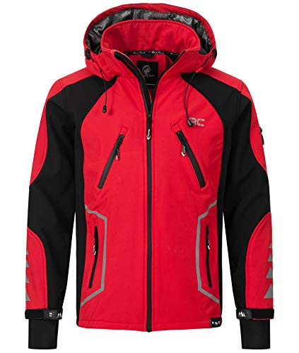 Rock Creek Herren Softshell Jacke Outdoor Jacke Windbreaker Übergangsjacke Anorak Kapuze Regenjacke Winterjacke Herrenjacke Jacket H-230 Rot M