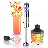 hand immersion blender handheld hand blender electric stick blender immersion for soap making handheld blender wand blender christmas gifts for women , Including 500ml Chopper 600ml Beaker, Whisk