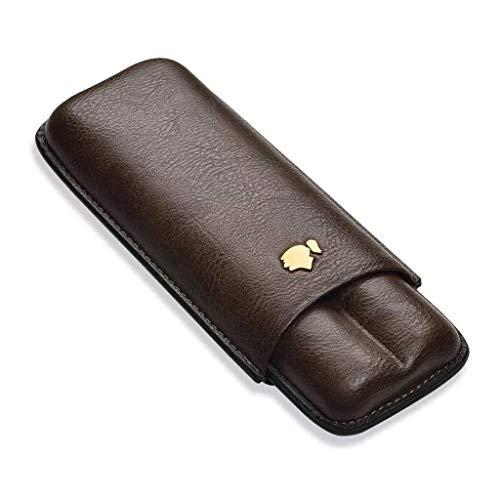 BGSFF Cigar Humidorses tragbare Reise Feuchtigkeitsbox Leder konstante Luftfeuchtigkeit 2 Sticks Ledertasche Herren Geschenkbox Zigarettenetui dunkle Farbe ble für das Büro Neue klassisc