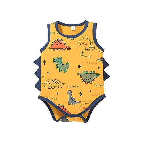 Mono de botón sin mangas con diseño de dinosaurio, diseño de animales de dibujos animados, sin mangas, para recién nacidos