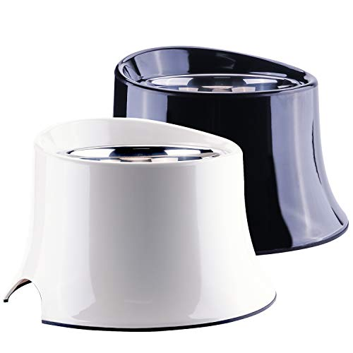 Super Design Elevated Dog Bowl Raised Dog Feeder for Food and Water, Non Spill Edges & Non Skid Sturdy Melamine Stand, Reduce Neck Stress, Less Regurgitating and Vomiting 1 Cup Black White Pack
