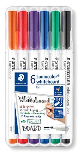 STAEDTLER 301 WP6 Whiteboard Pen Lumocolor (Strichbreite M (ca. 1 mm), trocken und rückstandsfrei abwischbar, schnelltrocknend, hohe Qualität, ideal für kleine Whiteboards, Box mit 6 Farben)