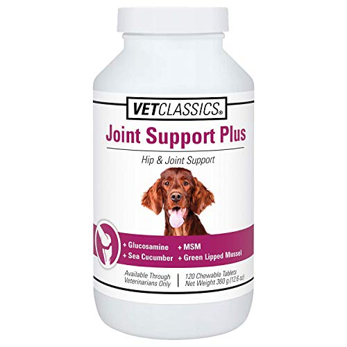 Vet Classics Joint Support Plus Dog Supplement - Hip Health Supplement for Dogs – Alleviate Aches, Discomfort - for Flexibility, Healthy Joint in Canines – Antioxidants – 120 Chewable Tablets
