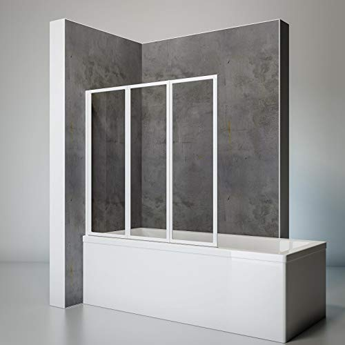 Schulte Duschwand Smart inkl, Klebe-Montage, 127 x 121 cm, 3-teilig faltbar, 3 mm Sicherheits-Glas klar, alpin-weiß, Duschabtrennung für Wanne