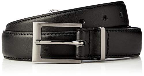 Marca Amazon - Hikaro Cinturón hombre, Multicolor (Negro y marrón oscuro), 38, Pack de 2