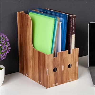 PPuujia Soporte para revistas de 2 rejillas A4 de madera desmontable para escritorio de oficina, soporte para revistas, soporte para mesa, organizador de documentos (color: marrón)