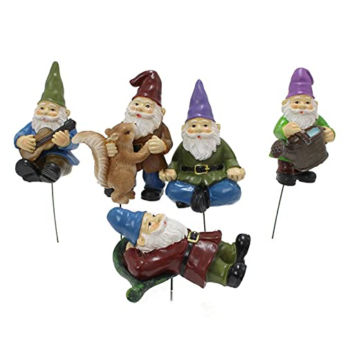 5 unids Mini Gnomes Juegos de jardín de hadas, gnomos divertidos Dwarfs Figurine Kit Adornos, Miniatura Jardín Gnomes Decoración para estatuillas coleccionables Juego de gnomo borracho Estatua de enan