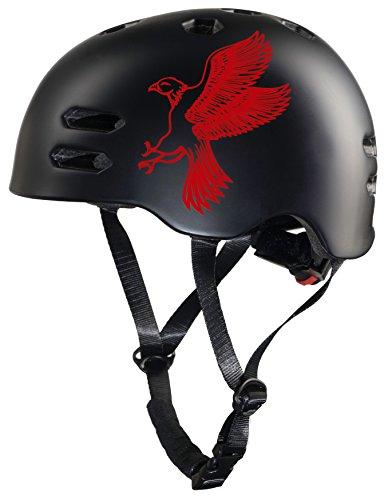 Prometheus Fahrradhelm für Kinder in Größe S 53-55 cm mit Drehring Skaterhelm Kinderfahrradhelm - TÜV Rheinland Zertifiziert (Rot & Schwarz Matt)