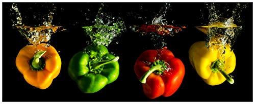 Wallario Glasbild Bunte Küche Paprika in rot gelb orange und grün im Wasser - 32 x 80 cm in Premium-Qualität: Brillante Farben, freischwebende Optik