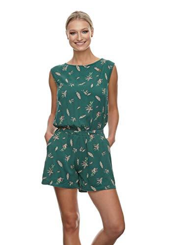 Ragwear Damen Zella Print Jumpsuit, Frauen Jumper,Overall,Playsuit,Gummizug,Taschen,ärmellos,Rückenausschnitt,Regular Fit,Grün,M