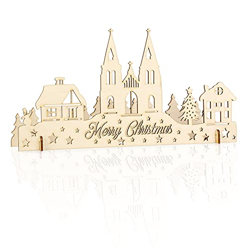 EngravisLT Merry Christmas Ornament - Wooden Lighted Decoration for Advent Countdown