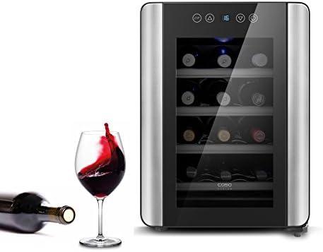 Caso WineCase Red 12 - Enfriador de vino de diseño, especialmente para vino tinto, 12 botellas, temperatura ajustable de 10 a 18 °C, clase de eficiencia energética A
