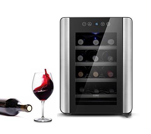 CASO WineCase 12 Red | Weinkühlschrank für 12 Flaschen Rotwein | 10 - 18°C, Touch und LED, 4 Edelstahlböden, UV-Filterglas, schwarz verspiegelt
