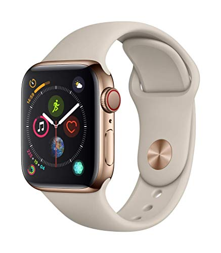 Apple Watch Series 4 (GPS + Cellular) con caja de 40 mm de acero inoxidable en oro y correa deportiva en color piedra