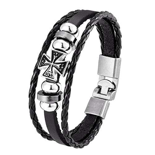 Vintage multicapa brazaletes Cruz hombres joyería hecha a mano Retro negro tejido encanto pulsera de cuero hombres
