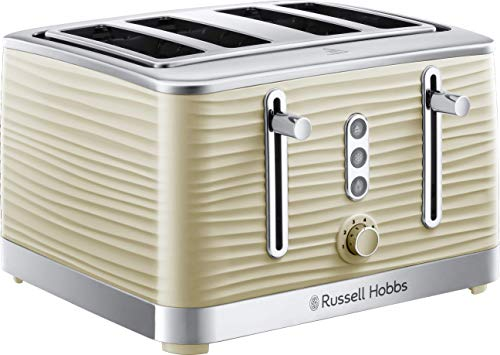 Russell Hobbs 24384 Cream Inspire 4 Slice Toaster, Wide Slot with Lift and Look Feature, High Gloss Chrome Accents, 1800 W