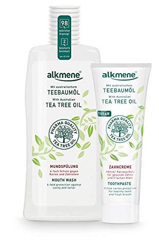 alkmene Zahnpasta & Mundspülung mit australischem Teebaumöl - Zahncreme für empfindliche Zähne - Mundwasser schützt vor Karies, Zuckersäuren & Zahnstein - Ohne Silikone, Parabene & Mineralöl