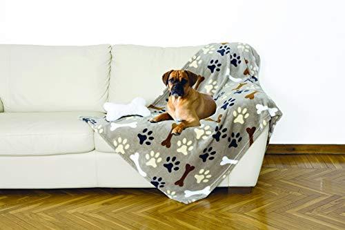Coperta in morbido pile, PER CANI. Plaid in soffice e calda microfibra, ideale per regalo Natale o per comodo relax sul divano, TV, con osso peluche. KANGURU DOG SET 100x150