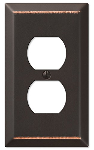 AMERELLE 163DDB Traditional Steel Wallplate with 1 Duplex, Aged Bronze, Outlet